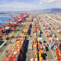 Aerial Port of Long Beach Container Yard